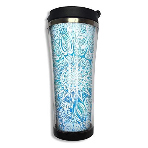 Taza de café con diseño de mandala geométrico de acero inoxidable, vaso aislado al vacío de doble pared, taza de café con agua