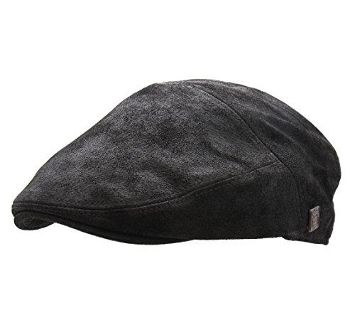 DASMARCA - Cappellino Piatto, Berretto Gatsby Pelle Uomo Alex - Size S - Carbon