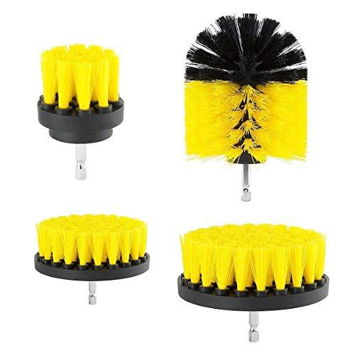 EsportsMJJ 4 Stks 2/3.5/4/5 Inch Elektrische Boor Borstel Geel/Blauw Reinigingsborstel Tool voor Badkuip Tapijt Yellow