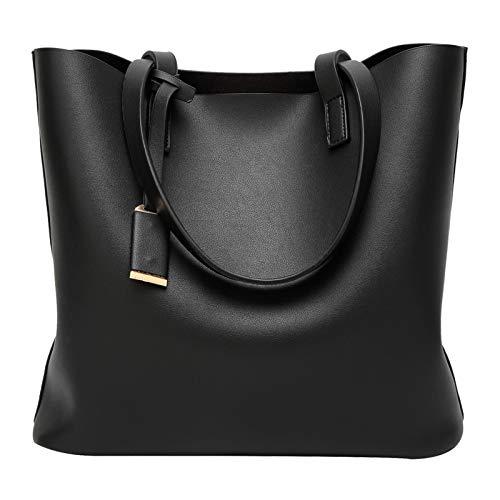 ilishop PU Leather Handbag Designer Pure Color Pures, Large Capacity Shoulder Bag, Classical Tote Bags (Black)