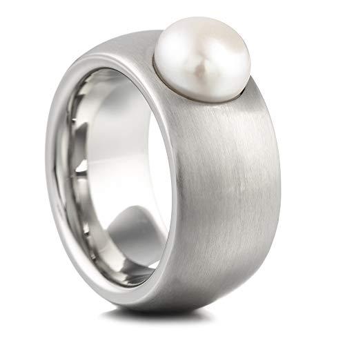 Heideman Ring Damen Coma 11 aus Edelstahl Silber farbend matt Damenring für Frauen mit Swarovski Perle Weiss Cabochon Edelsteinschliff 8mm