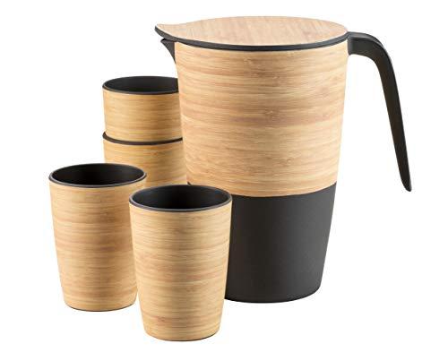 MÄSER  931226  Bamboo Fibre , Wasserkrug und 4 Trinkbecher aus Bambus, Mais und Melamin, lebensmittelecht, spülmaschinengeeignet und langlebig , Bambusfasern, Melaminharz, Maispulver