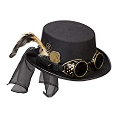 Are you looking for the perfect accessory for your steampunk outfit? Then this women's hat from Widmann is just the thing for you. It comes in black and is decorated with beautiful details such as small gears as well as springs and tulle. Steampunk g...