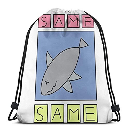 Lmtt Bolsas de cuerdas para el gimnasio Nichijou - Same Shark Sport Bag Gym Sack Mochila con cordón Mochilas Casual Unisex Escuela Bolsa de Cuerda Bolsas de Gimnasia 36*42cm