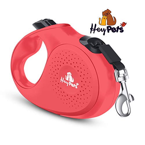 Hey Pets Roll-Leine | Flexible Hunde- und Katzenleine in Coral | 3 m Gurtlänge flexibel einziehbar mit Schnell-Stopp Funktion | ergonomischer Griff und 360 Grad Freilauf