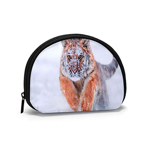 Tiger Winter Women Portable Coin Purse Zippered Change Pouch Wallet Shell Storage Bags