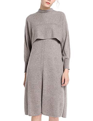 APART trendiges Damen Kleid, Strickkleid, 2-in-1-Look, Oberteil in Cape-Optik, seitlich geschlitzt, Taupe, L