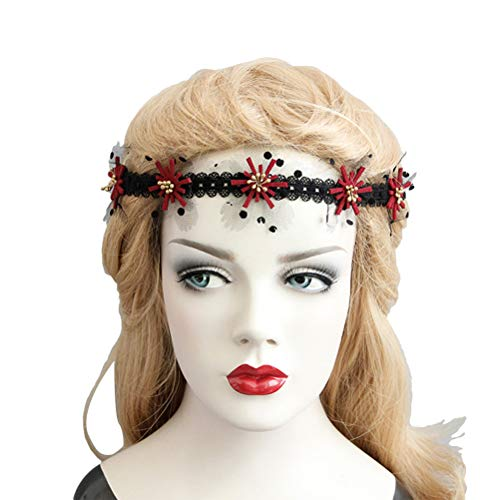 Kant Bloem Hoofdband Zwart Verstelbare Lint Haarband Zachte Stof Hoofdband voor Masquerade Halloween Party