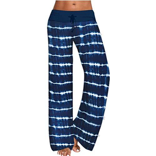 B H Elástico Pretina Pantalones Bombachos,Pantalones de Yoga Holgados Estampados, Pantalones Deportivos de Pierna Ancha-Azul Oscuro_S,Ideal para Danza Correr Trotar Ejercicio
