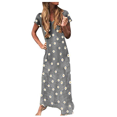 URIBAKY Frauen Schöne Gänseblümchen Drucken ÜbergrößeT Shirt Kleider Lang,Damen Elegant Sommer Tunika Kleid,Daisy-Drucken Kurzarm Loses Kleid Große Größen