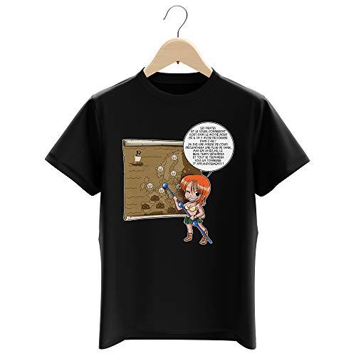 T-Shirt Enfant Garçon Noir Parodie One Piece - Nami - Les prévisions de Météo Pirate pour Le Prochain épisode ! (T-Shirt Enfant de qualité Premium de Taille 5-6 Ans - imprimé en France)