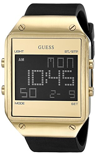 GUESS  Comfortable Black + Gold-Tone Stain Resistant Silicone Digital Watch with Day, Date, 24 Hour Military/Int'l Time, Dual Time Zone + Alarm. Color: Black (Model: U0595G3)
