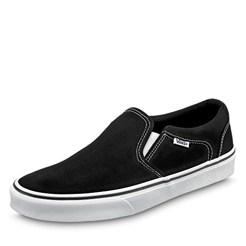 Vans Herren MN Asher Slip On Sneaker, Schwarz ((Canvas) Black/White 187), 42.5 EU