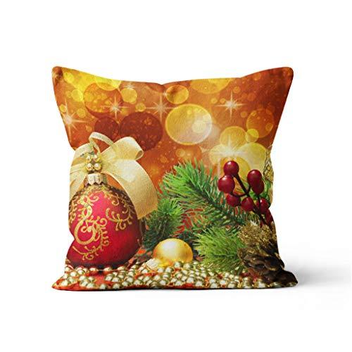 Skxinn Weihnachten Kissenbezug,Kissenbezug Hülle mit weihnachtlichen Motiven Weihnachten Deko Kissenbezug Sofa Bett Auto Home Decor Festival Kissenhülle aus Baumwolle Leinen, 45cm x 45cm