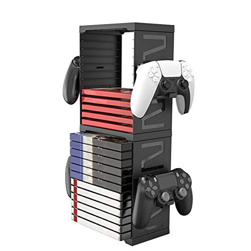 Game Storage Tower with Controller Holder Universal Games and Blu-ray Storage Tower for PS4 PS5 Switch Box Games for Video Games 24 PCS
