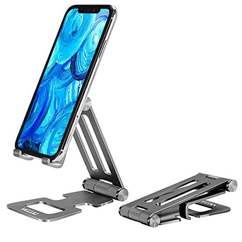 VECUU Soporte móvil, SoporteTeléfono con Tableta Ajustable de Multiángulo, Soporte Móvil de Escritorio Plegable de Aluminio para iPhone 12 Mini, 12 Pro MAX, 11 Pro XS X 8 7 6, Samsung Galaxy, Huawei