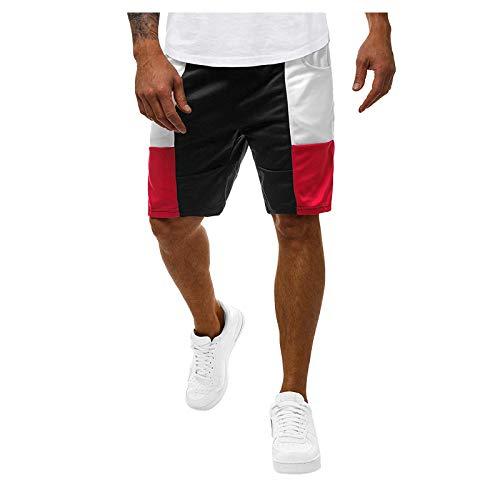 Pamilk Pantalones cortos de deporte para hombre, para correr, para primavera, verano, informal, fitness, culturismo, con bolsillo Negro L