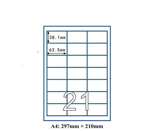 Songlela Bianco Autoadesivo Stampabile con Fogli A4, Etichette Multifunzione, Etichette Amazon FBA spedizione, (21 etichette per foglio, 100 fogli, 2100 pezzi), Universal Etichette 63.5 X 38.1 mm