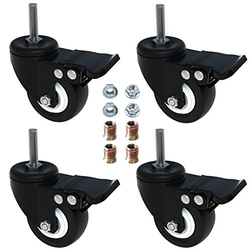 AAGUT 2' Swivel Stem Casters with Brake Lock, Screwed Bolt 5/16'- 18 x 1', Heavy Duty PU Rubber Wheels 4 Pack with Nuts