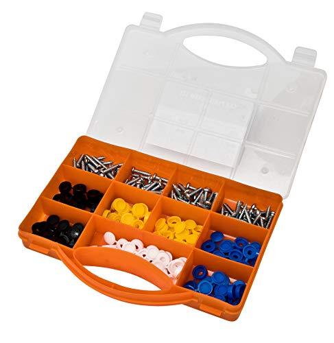Juego de tornillos y tapas de fijación BRACKIT, 180 piezas, negro, blanco y amarillo, para placas de matrícula de coche y accesorios de señalización, sin juntas – Caja de almacenamiento incluida