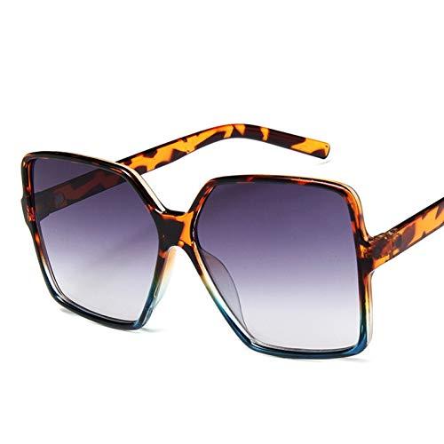 PrittUHU Occhiali da Sole Oversize Donne Occhiali da Sole di Lusso Donne 2021 Occhiali da Sole Gradiente di Alta qualità Vintage (Lenses Color : Leopard Blue)