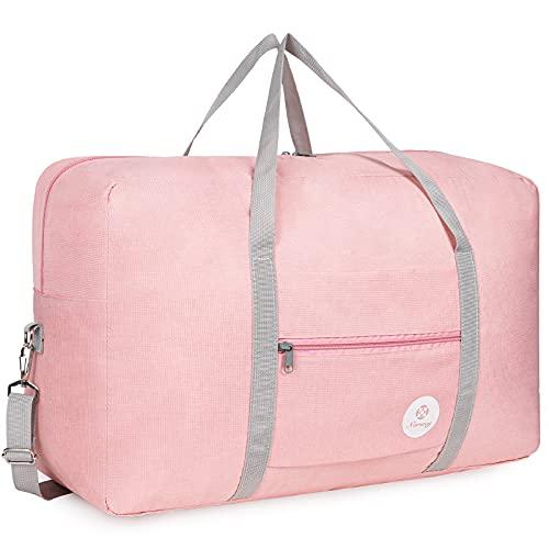 Bolsa de viaje plegable, de lona, ideal para fines de semana o para llevar al gimnasio, equipaje de mano, maleta para niñas, niños y mujeres, Pink, 40 L,
