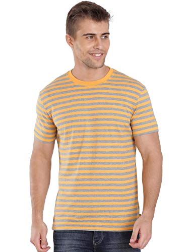 Jockey Men's Regular Fit T-Shirt (2715 _Burnt Gold and Grey_Large)