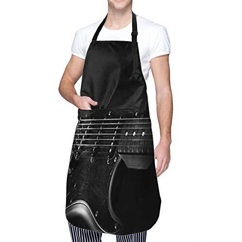 COFEIYISI Delantal de Cocina Tema infantil de dibujos animados de guitarra eléctrica de música rock Delantal Chefs Cocina para Cocinar/Hornear