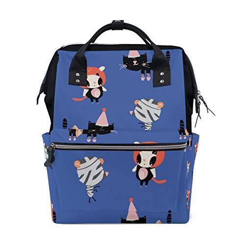 Cartoon-Katzen in Halloween-Kostümen Muster Schulrucksack Große Kapazität Mumien-Taschen Laptop Handtasche Casual Reiserucksack Schulranzen für Damen Herren Erwachsene Teenager Kinder
