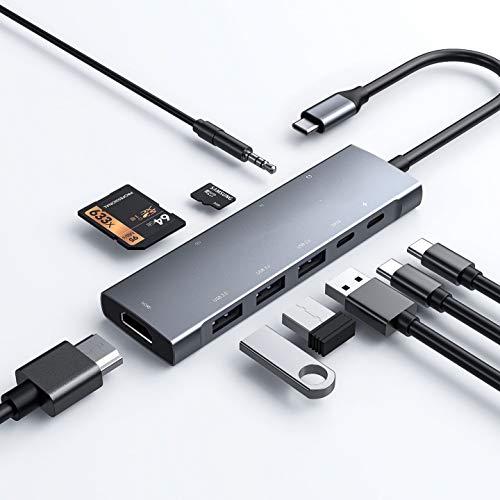 CHLOLMY - Hub USB C 9 en 1 con 4 K HDMI, 3 USB 3.0, toma de audio de 3,5 mm, lector de tarjetas SD/Micro SD, cargador USB C de 60 W, datos USB-C 3.0, compatible con MacBook, etc.