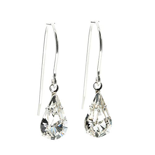 pewterhooter petite 925 Sterling Silver drop earrings for women made with sparkling Diamond White teardrop crystal from Swarovski. Gift box. Made in the UK.