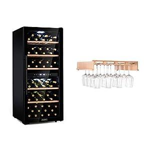 Klarstein Barossa 102D ensemble cave à vin - refroidisseur à vin, réfrigérateur à vin, réfrigérateur à compression, 102 bouteilles, température: 5-18 °C, 2 zones, contrôle tactile, noir