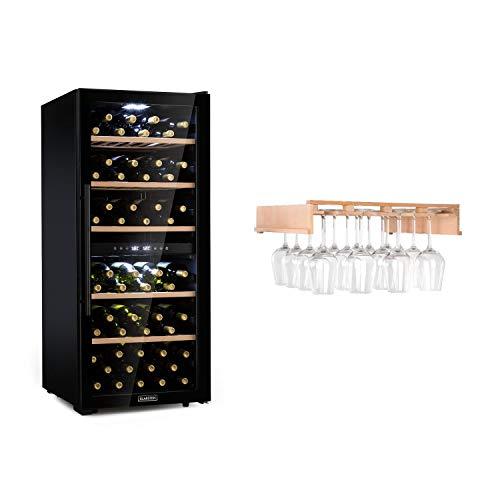 KLARSTEIN Barossa 102D - Set con Calici per Vino, Set Cantinetta Vino e Calici, Frigorifero per Vini a Compressione, 102 Bottiglie, 5-18 °C, 2 Zone, Controllo Touch, Vetro Frontale, Nero