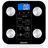 Triomph Body Fat Scale, Digital Bathroom Scale Body Composition Analyzer with Backlit LCD for Body Weight, Fat, Water, Muscle, BMI, Bone Mass and Calorie, 10 Users, 400 lbs Fat Loss Monitor, Black