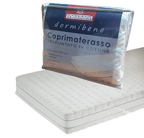 LINEASANIT Coprimaterasso Imbottito, Trapuntato Cotone Fasce Laterali DORMIBENE (Singolo, 1 Piazza)