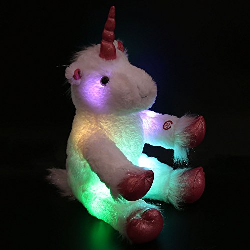 WEWILL LED Colorful Unicorn Stuffed Animal Light up Cozy Plush Glow Soft Toy Bedtime Companion Gift for Kids on Christmas Birthday Festivals, 16''