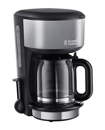 Russell Hobbs Glas-Kaffeemaschine Colours Plus+ Storm Grey, 1.25l, Brausekopf-Technologie, Glaskanne, 1000 Watt, 20132-56, schwarz/grau