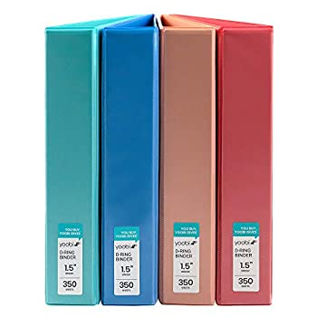 Yoobi | 3-Ring Binders | 1 1/2 Inch D-Ring | Solid Multicolor Variety Pack of 4