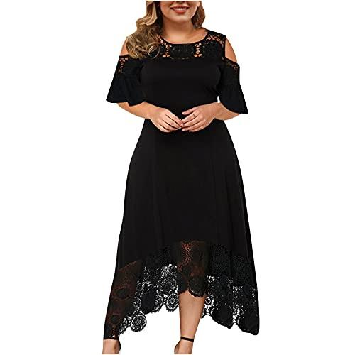 Nuevo 2021 Vestidos Largo para Mujer, Moda tallas grandes Fiesta Vestido de Vestir Elegante encaje Vestido de Noche Color sólido Casual Vestidos Largo Sexy volantes Vestido sin tirantes Manga corta