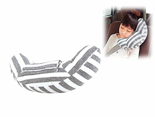 RSPrime Almohada de Coche Descoser Almohadilla Auto Almohada Cojín del Cinturón de Seguridad Automóvil Desmontable Cuello de Almohada Suave y Cómodo Protección del Hombro Ajustable para Seguridad de los Niños (Gris y Blanco)