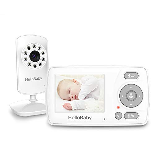 Video Baby Monitor with Camera and Audio, HelloBaby Monitor Two-Way Talk, Infrared Night Vision, Temperature Display Feeding Alarm and VOX Mode
