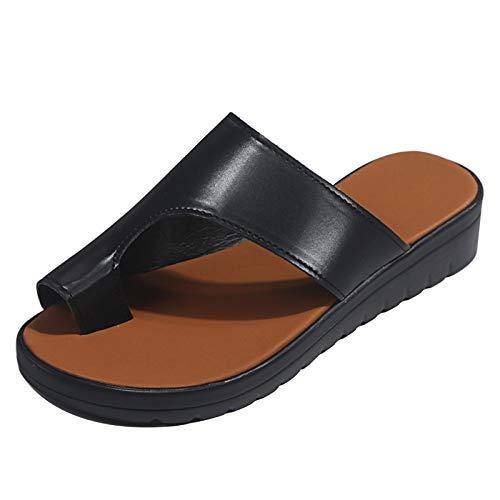 Sandalias Planas Sandalias Correctoras Moda Casual Corrección del Hueso del Dedo Gordo para Verano Al Aire Libre,Black,41