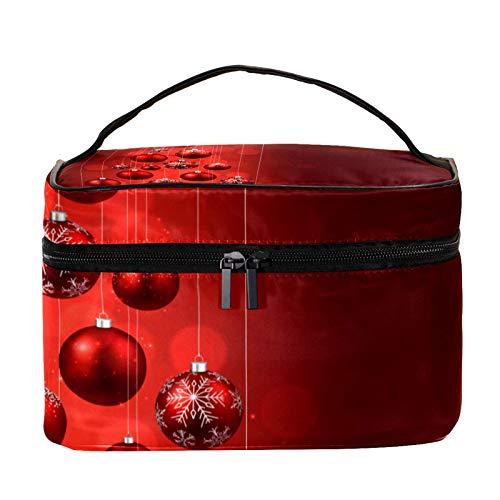 Neceser de Maquillaje Estuche Escolar para Cosméticos Bolsa de Aseo Grande Árbol de Navidad Bolas de Navidad Rojas