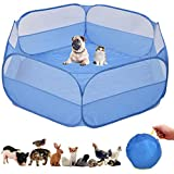 Small Animal Cage, Pet Playpen, Play Tent, Indoor/Outdoor Bedding Fence, Portable Pen for Hamster, Guinea Pig,Bunny, Puppy, Ferret, Rat, Cat, Chinchilla, Bearded Dragon, Hedgehog (nocover-Blue)