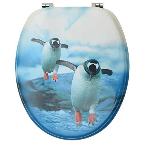 Tidyard Toilettendeckel, WC Sitz mit Schnellverschluss für leichte Reinigung mit Pinguin-Design Passen alle Toilettenschüsseln