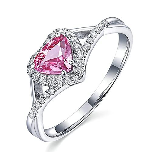 KnSam Mujer Hombre Unisex 18K oro blanco Herz rosa Sapphire