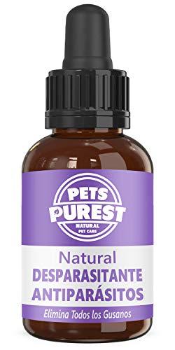 Pets Purest Desparasitante antiparasitario 100% natural para perros, gatos, aves, conejos y mascotas Elimina todos los gusanos lombrices intestinales anquilostomas gusano látigo 1-2 años de suministro ✅