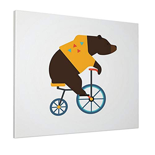 """Bicycle Decor Big Teddy Bear Icon of Circus Riding Bicycle with Trendy Hipster Costume Animal Image Brown Yellowpainting 16"""" X 20"""" Panoramic Canvas Wall Art"""