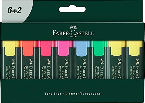 Faber-Castell 254863 - Textmarker Textliner 48, 8er Etui Pappe, superfluorescent