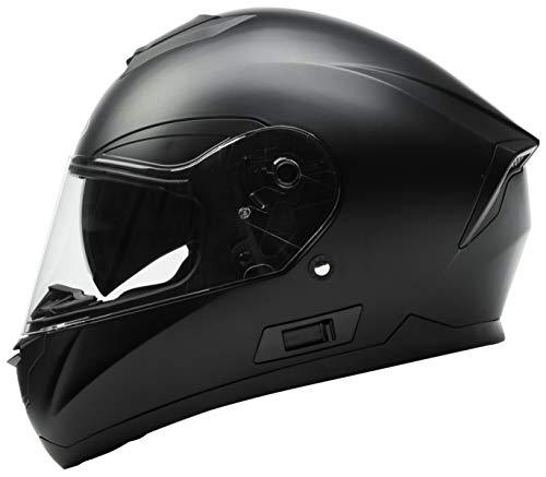 Motorradhelm Integralhelm Rollerhelm Fullface Helm - YEMA YM-831 Sturzhelm ECE mit Doppelvisier Sonnenblende für Damen Herren Erwachsene-Schwarz Matt-M